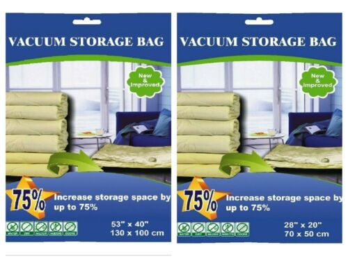 4 Large and 4 Super Jumbo Vacuum Storage Bag Space Saver Compress Bags 8 PACK