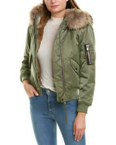 SAM-Jenny-Bomber-Jacket-Puffer-fur-lined-Coat-hood-sz-small-green-NEW