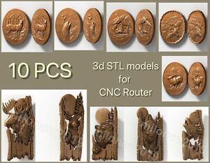 3d STL models 10 pcs set for CNC Router Aspire Artcam VCarve Pro