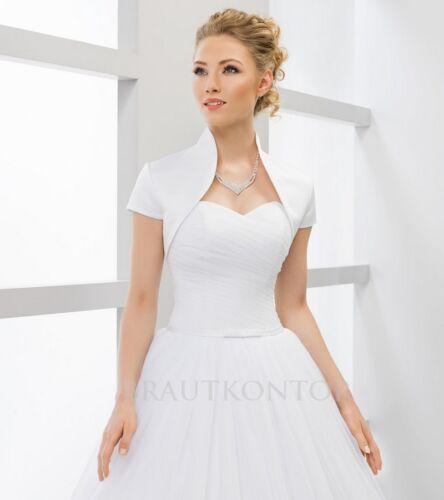Brautjacke Bolero Hochzeit Brautbolero weiß ivory creme 36,38,40,42,44,46 BK158