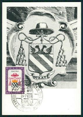 Freundlich Belgien Mk 1961 Mecheln Bischofssitz Wappen Kardinal Maximumkarte Mc Cm Dz85 Belgien