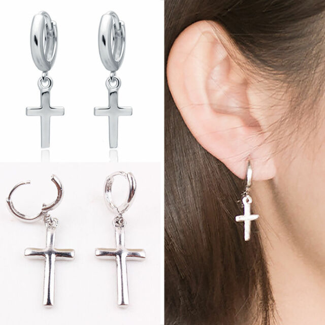 Punk Stainless Steel Dangle Cross Charm Ear Stud Hoop Huggies Earring Men Women