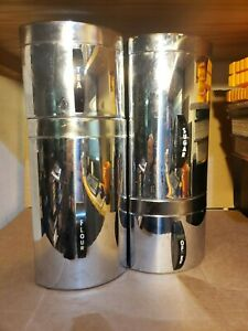 Details about Vintage Kromex Aluminum Shiny Mid Century Modern Kitchen  Canisters Set of 4
