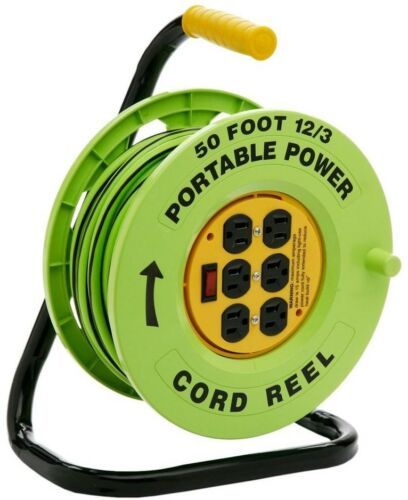 50 ft 12//3 Cord Portable Reel Station 6 Outlet Extension Electric Power Cable