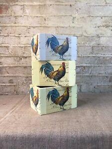 Vintage Style Wooden /'Le Coq/' Decoupage Kitchen Garden Storage Box