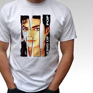 MJ-Michael-Jackson-King-Of-Pop-white-t-shirt-top-mens-and-kids-sizes