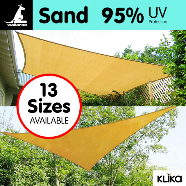 NEW OUTDOOR SUN SHADE SAIL CANOPY - SAND CLOTH RECTANGLE SQUARE TRIANGLE