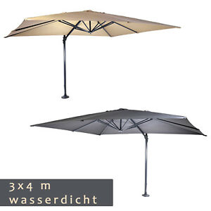 wasserdichter luxus ampelschirm 3 x 4 m sonnenschirm 360 drehbar 50 uv schutz ebay. Black Bedroom Furniture Sets. Home Design Ideas