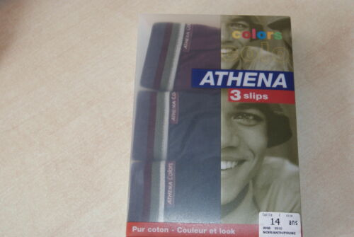 3 slips neuf taille 10//12 ans marque ATHENA Colors noir//anthracite//prune