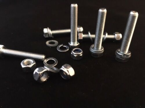 M7 High Tensile Full Thread Set Screws Bolts and Nyloc Nuts Washers Zinc Plated