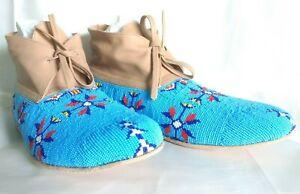 New Native American style Indian Handmade Buckskin Leather Beaded Moccasins