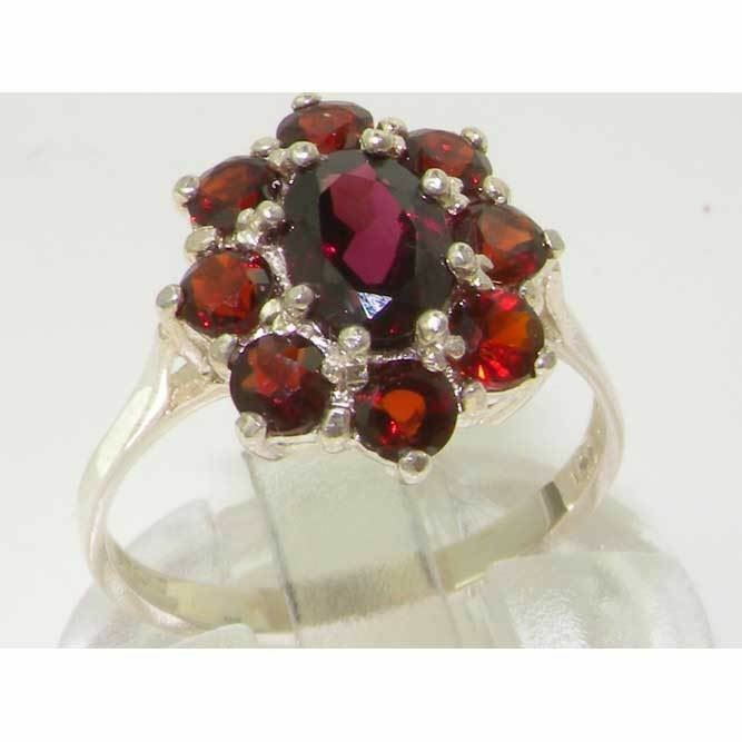 10ct White gold Natural Garnet Womens Cluster Ring - Sizes J to Z