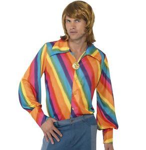 Hommes-Annees-70-Annees-1970-Disco-Rainbow-Chemise-Deguisement-Hippie-Neuf-Par