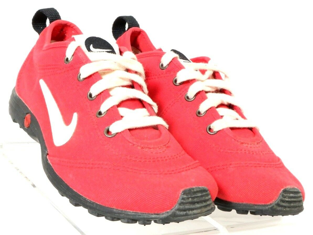 Nike Vintage Red Wht Blk Canvas Lace-Up Lightweight Athletic Sneaker Men's US 8