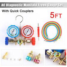 R12 R22 R502 R134a Diagnostic Manifold Gauge Set 5ft Hose Ac Refrigeration