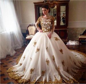Luxury-White-Gold-Wedding-dress-Bridal-Gown-custom-size-6-8-10-12-14-16-18