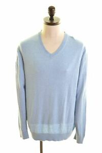 NAUTICA-Mens-V-Neck-Jumper-Sweater-Large-Blue-Cotton-CI07