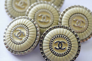 5-Five-Chanel-Buttons-set-of-5-beige-cc-silver-Chanel