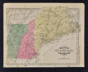 Details about 1882 Wells Map - Maine New Hampshire Vermont Augusta Portland  Concord Montpelier