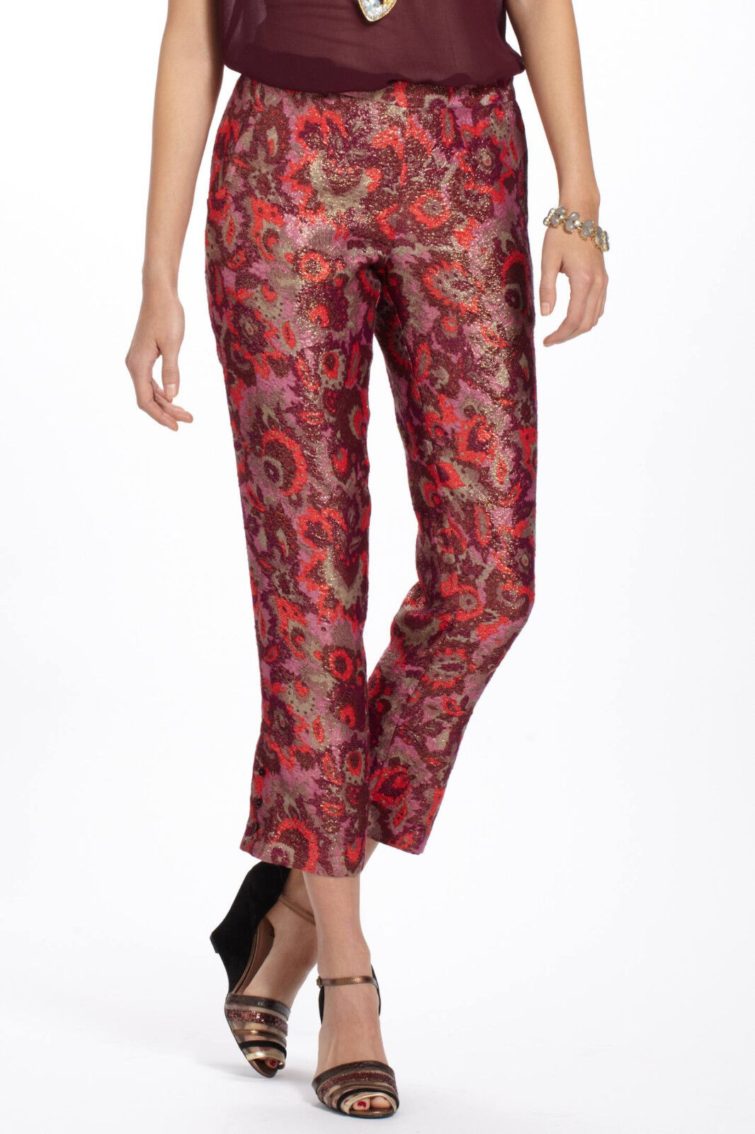 Elevenses Paisley Brocade Crops Pants Size XS, S, M, NW ANTHROPOLOGIE Tag
