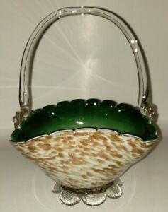 Vintage Art Glass Basket Infused With Gold, Applied Base And Handle