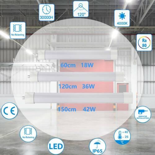 LED Feuchtraumleuchte Wannenleuchte 60//120//150 cm Röhre Keller Werkstatt IP65 DE