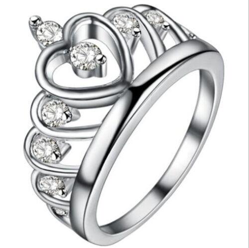 Fashion Women  White Sapphire Gemstone Wedding Engagement Crown Ring SZ:9