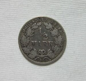 GERMANY-EMPIRE-SILVER-1-2-MARK-1906-D