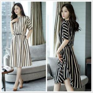 Women-Casual-Striped-Loose-Shirt-Dress-Elegant-Half-Sleeve-O-Neck-Midi-Dress