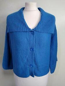 FAT FACE SIZE 18 BLUE Boxy 3/4 Sleeve ALPACA WOOL Blend Short Collared CARDIGAN