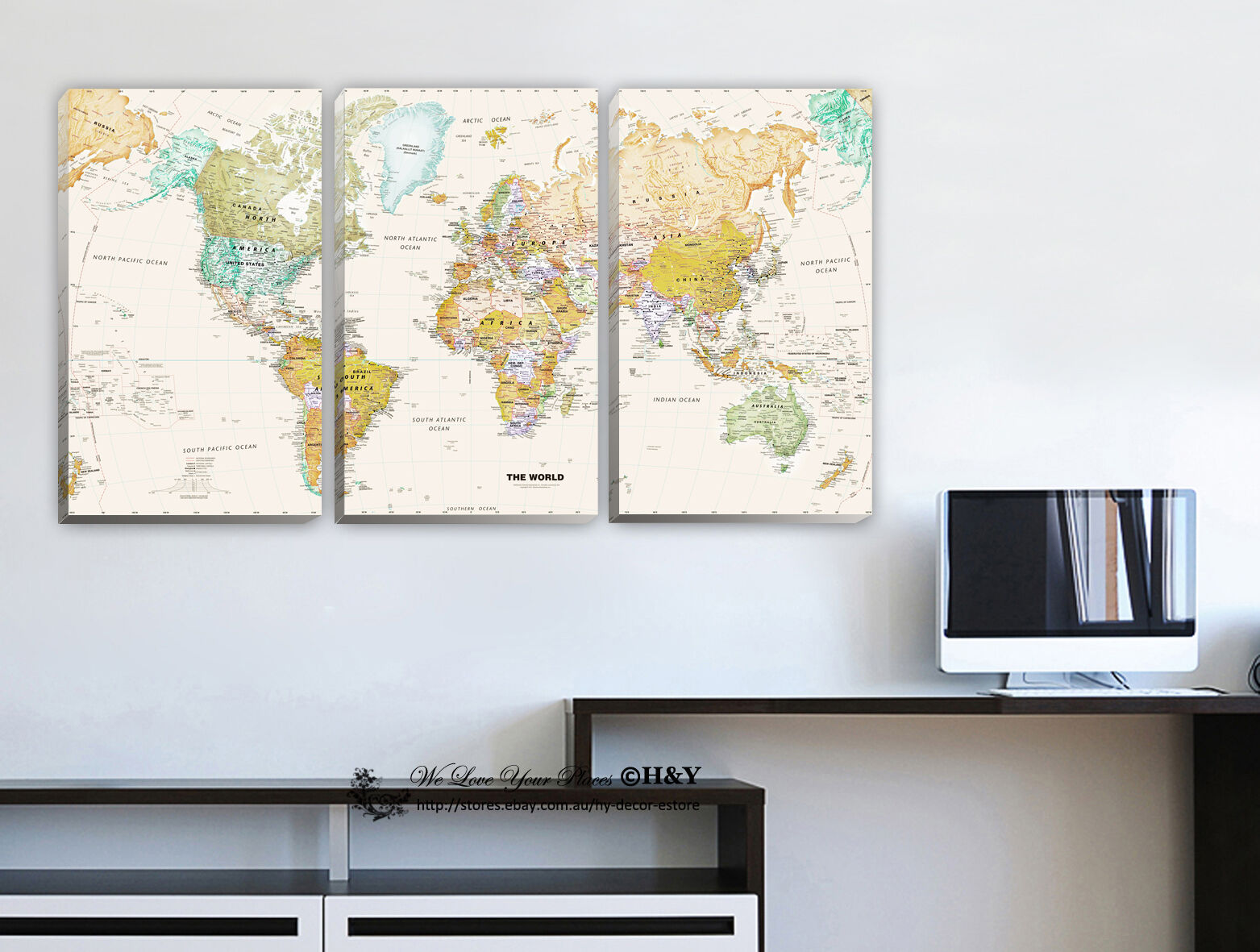 Office Wall Decor Set : Set of world map stretched canvas prints framed wall art