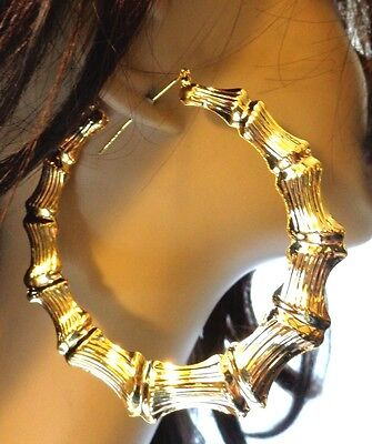 18a430083 Details about BIG BAMBOO HOOP EARRINGS FULL HOOP EARRINGS GOLD OR SILVER  TONE 3.5 INCH HOOPS