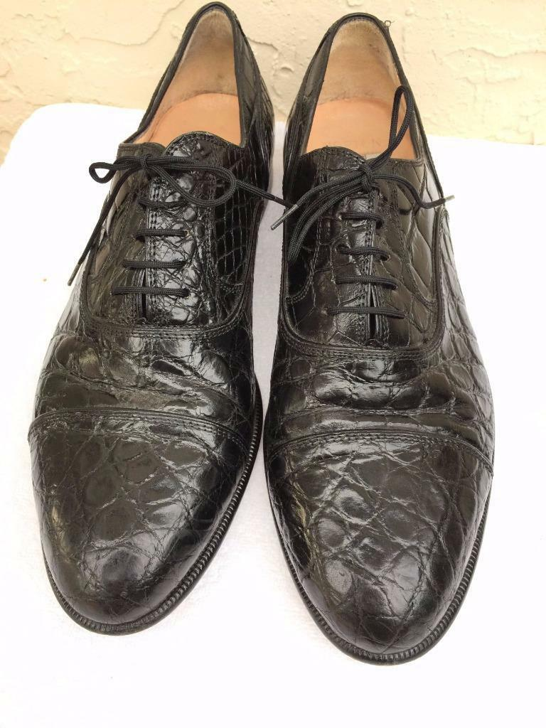 BRUNO MAGLI  GENUINE CROCODILE CROCODILE CROCODILE BLACK OXFORD LACE UP DRESS Schuhe SZ 11 32c732