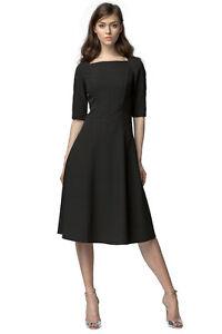 d6e26b0a5582 Details zu VictoriaV - A-Linien-Kleid mit ¾ Ärmeln, Schwarz Midi Business  Gr- 34-42 NEU