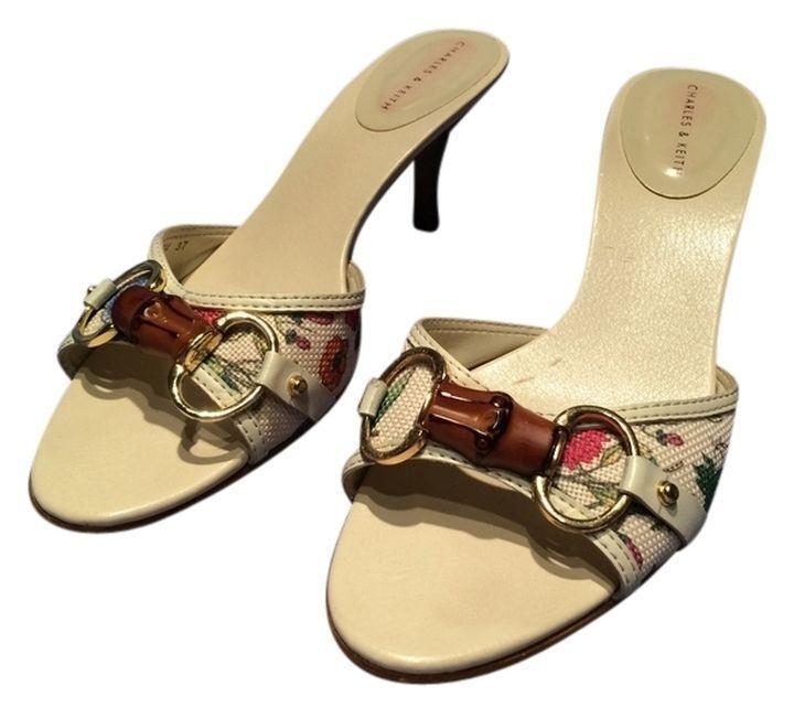 Charles & Keith Gentally Beige Khaki Flowery Sandals Size 7 Gentally Keith Worn Clean b8b7f5