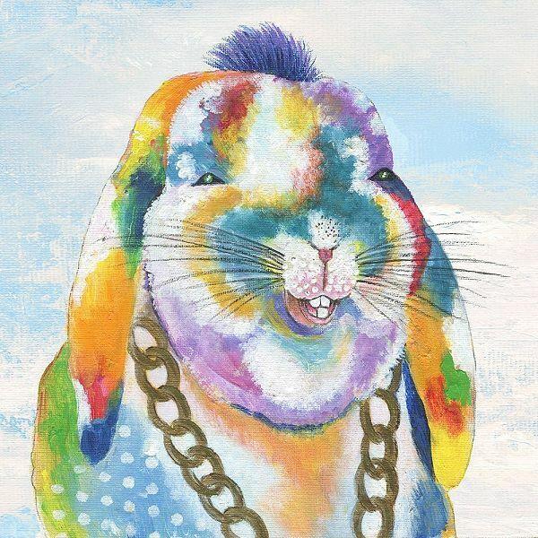 Tava Studios  Groovy Bunny and Sky Keilrahmen-Bild Leinwand Hase bunt lustig
