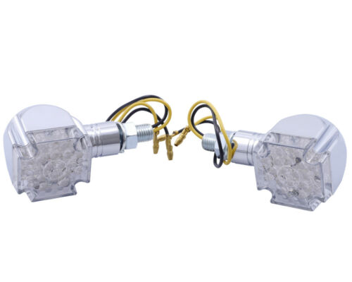 short handle iron cross Indicator Motorcycle Mini LED CROSS chrome pair M8