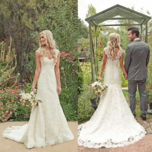 Bohemian//Country Mermaid Lace Wedding Dresses Cap Sleeves Bridal Gown