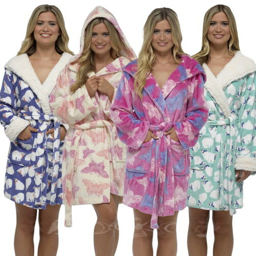 Ladies Fleece Super Soft Hooded Thigh Length Dressing Gown Snuggle Sizes S-L