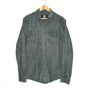 Quicksilver Mens Faded Black Denim Snap Button Up Long Sleeve Shirt Size M