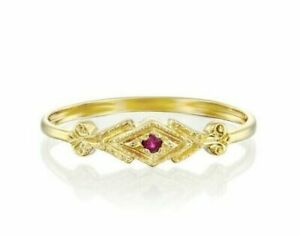 14K-Yellow-Gold-1-Stone-Red-Natural-Ruby-Vintage-Engraved-Milgrin-Ring-Size-7-75