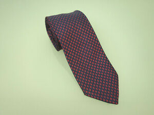 HERMES-PARIS-Designer-Seidenkrawatte-Krawatte-Silk-Tie-Seide-Rot-Dunkelblau