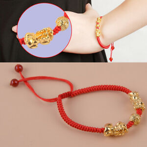 Rotes Seil 3D Chinesisch Feng Shui Pixiu Link Bead Mythische Armband Armreif tp