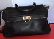 b2aa1fa09cf AUTHENTIC Salvatore Ferragamo Black Pebbled Leather Sofia Bag (Pre-Loved)