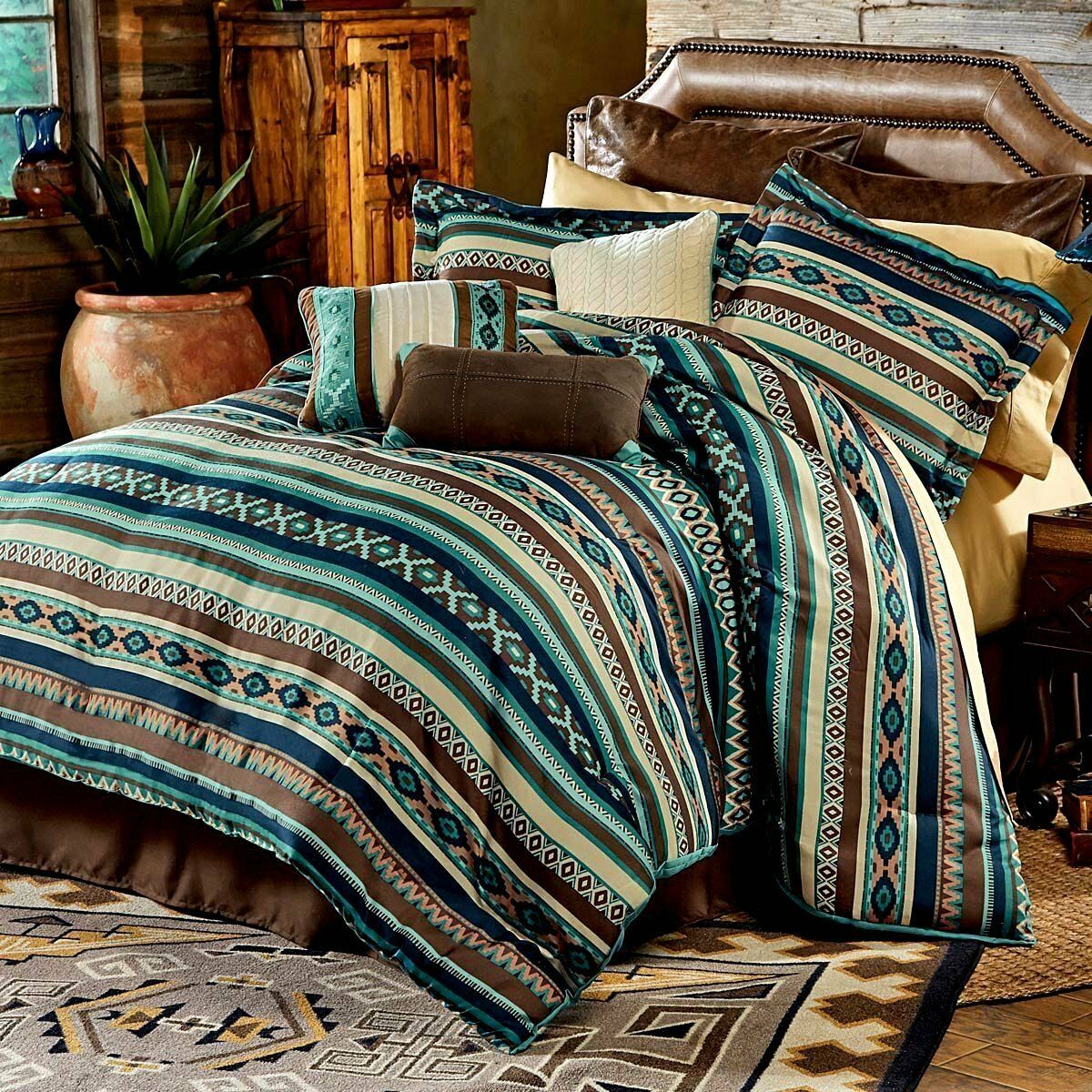 BEAUTIFUL MODERN SOUTHWEST CABIN LODGE TEX MEX blu TEAL Marronee COMFORTER SET