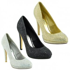 7a78a054980 Image is loading Womens-Glitter-Court-Heels-Platform-Party-Sparkly-Prom-