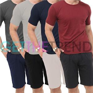 Men Loungewear Pajamas Set  V Neck Pyjamas T-Shirt Shorts Sleepwear Soft Summer