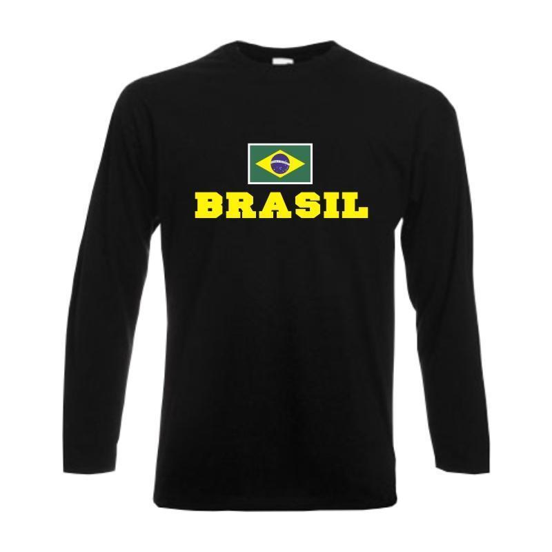 Longsleeve BRASIL (Brasilien) Flagshirt Fanshirt Langarmshirt S-6XL (WMS02-12b)      Roman    Haltbar    Elegantes Aussehen