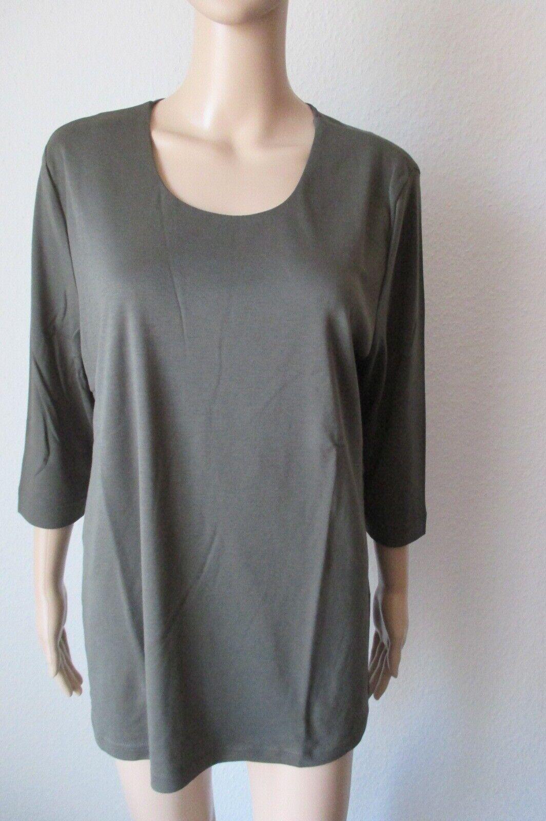 Efixelle Shirt mit 3 4 Arm, Rundhalsausschnitt, Farbe oliv, Größe 48