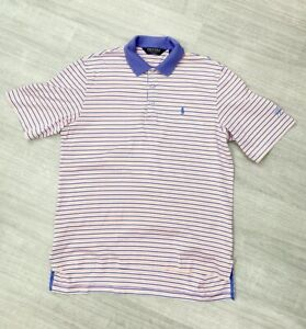 Ralph-Lauren-Polo-Golf-Stripe-Step-Hem-Sz-M-Short-Sleeve-Orange-Purple